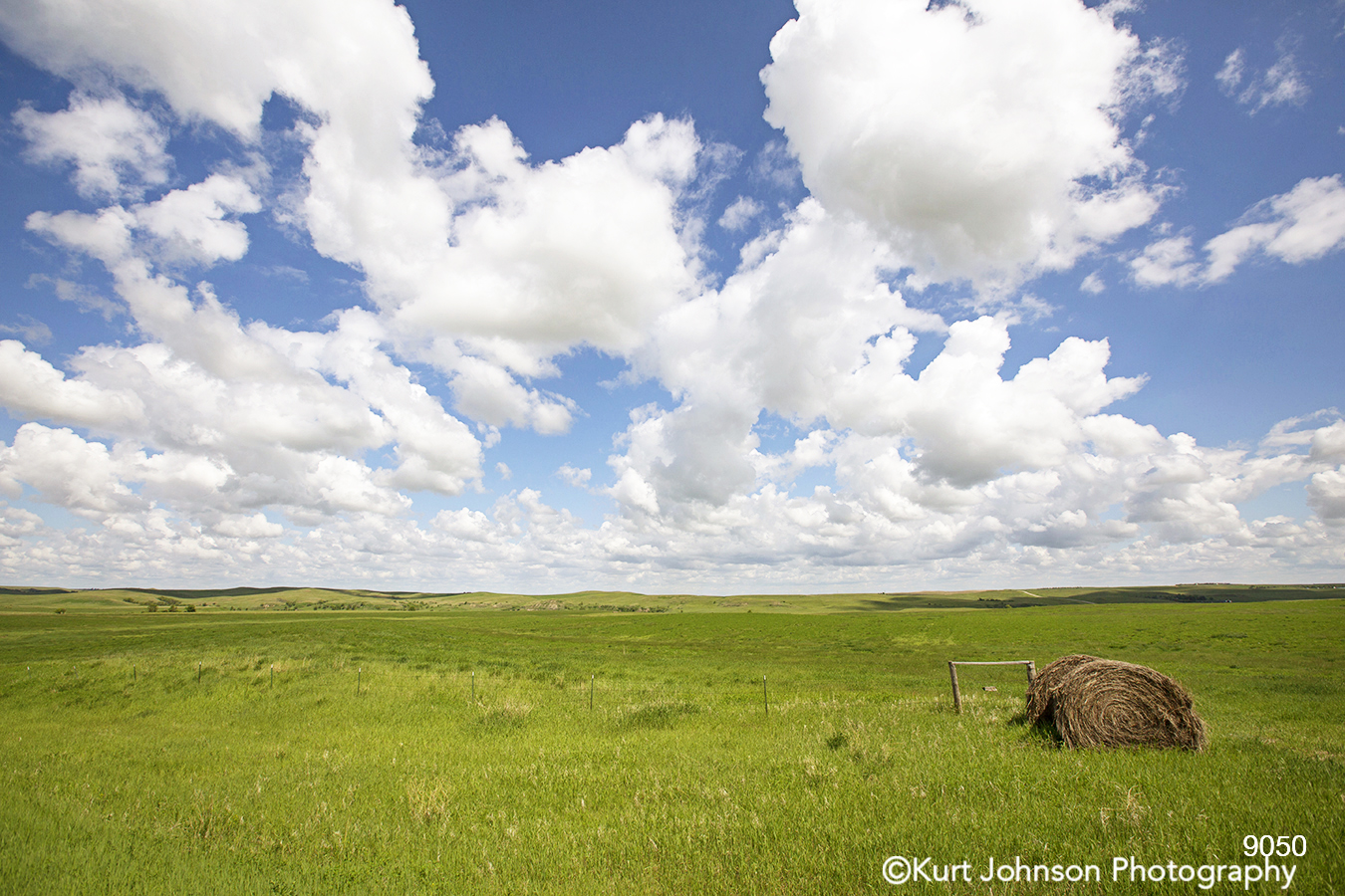 midwest hay bale blue sky clouds green grass field farm country landscape