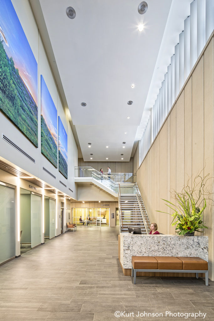 Install-gallery-wrapped-canvas-art-landscape-Sidney Regional Medical Center-Sidney NE-Leo A Daly