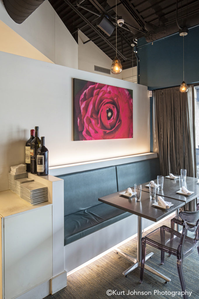 salt 88 omaha nebraska red flower floral botanical restaurant installation gallery wrapped canvas acoustic panel panels