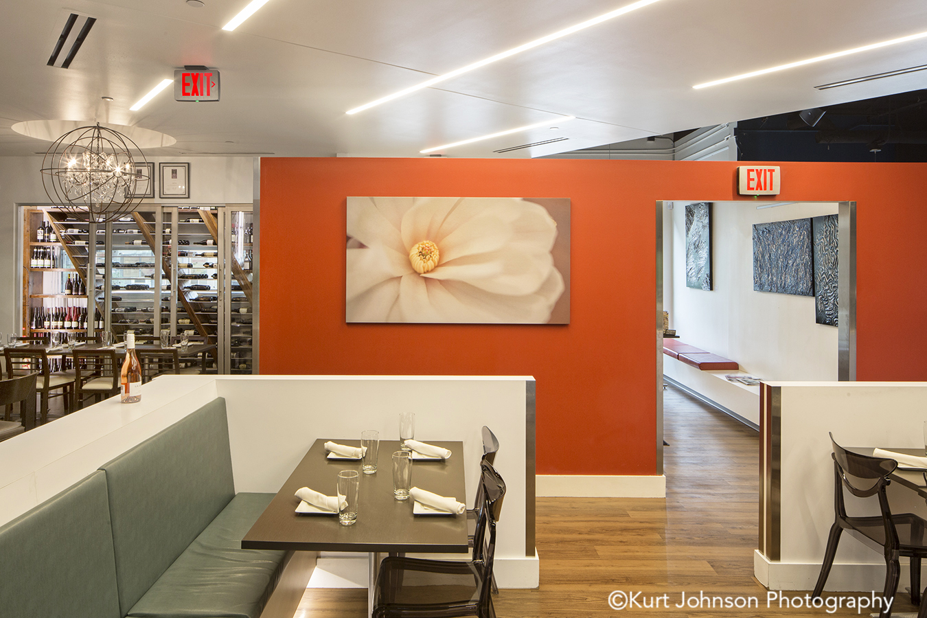 salt 88 omaha nebraska white flower floral botanical restaurant installation gallery wrapped canvas acoustic panel panels