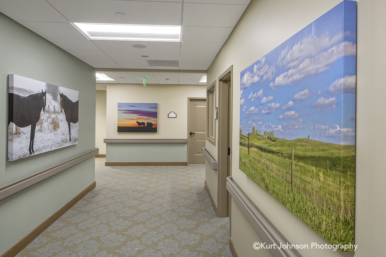 Broken Bow senior living installation fine art photography gallery wrapped canvas install midwest wildlife