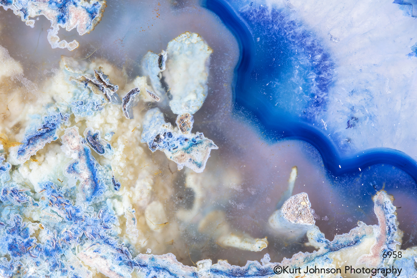 blue lines pattern geode agate crystal rock texture close up detail macro