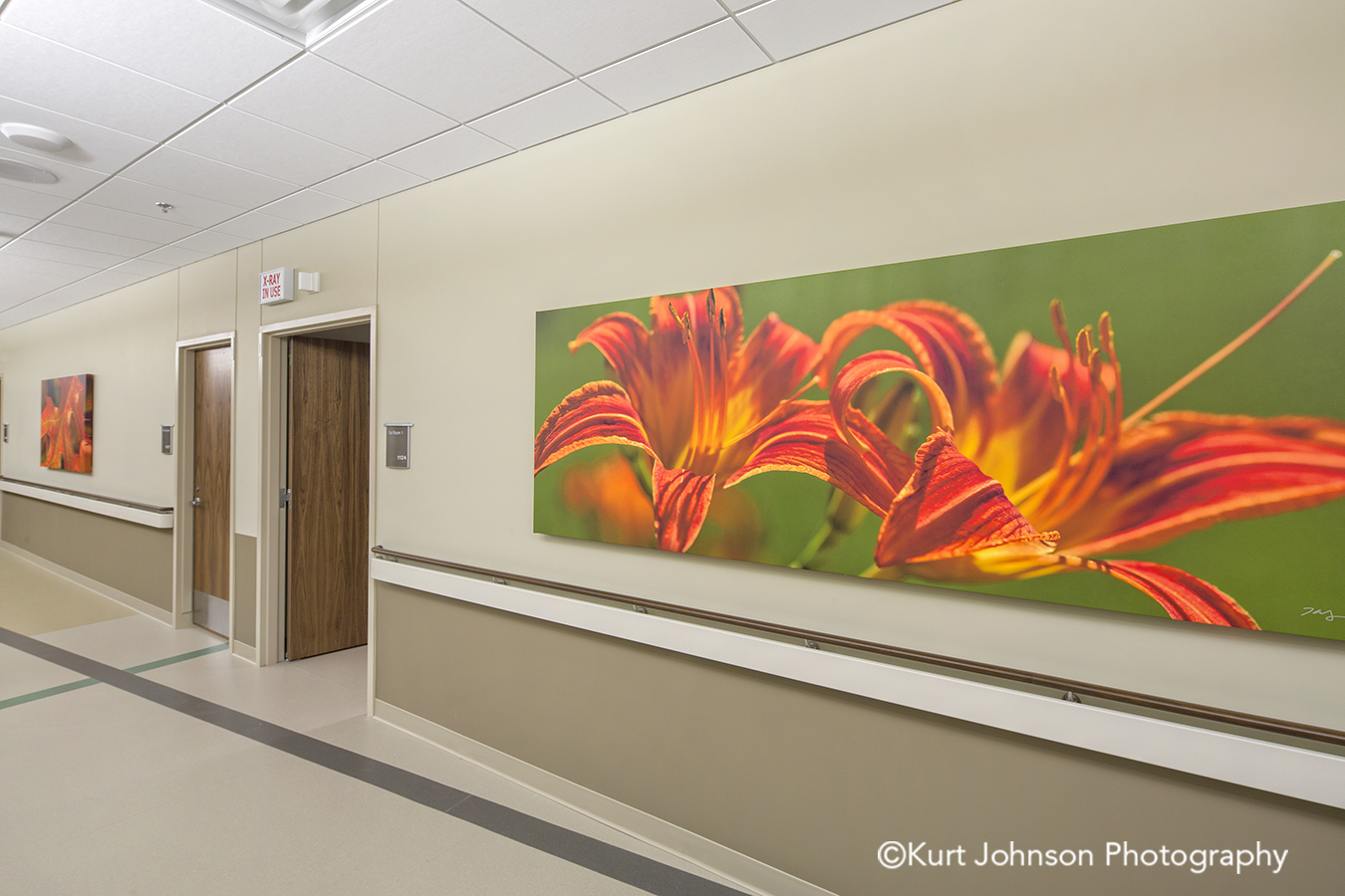 orange flower botanical gallery wrapped canvas healthcare installation Sidney Regional Medical Center install