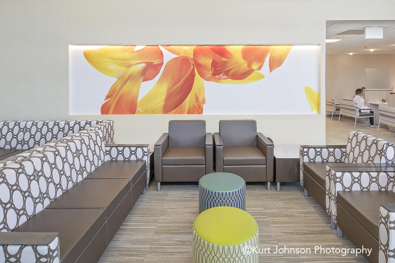 Lexington Regional Health Center Lexington NE healthcare botanical orange yellow flower wallcovering install installation