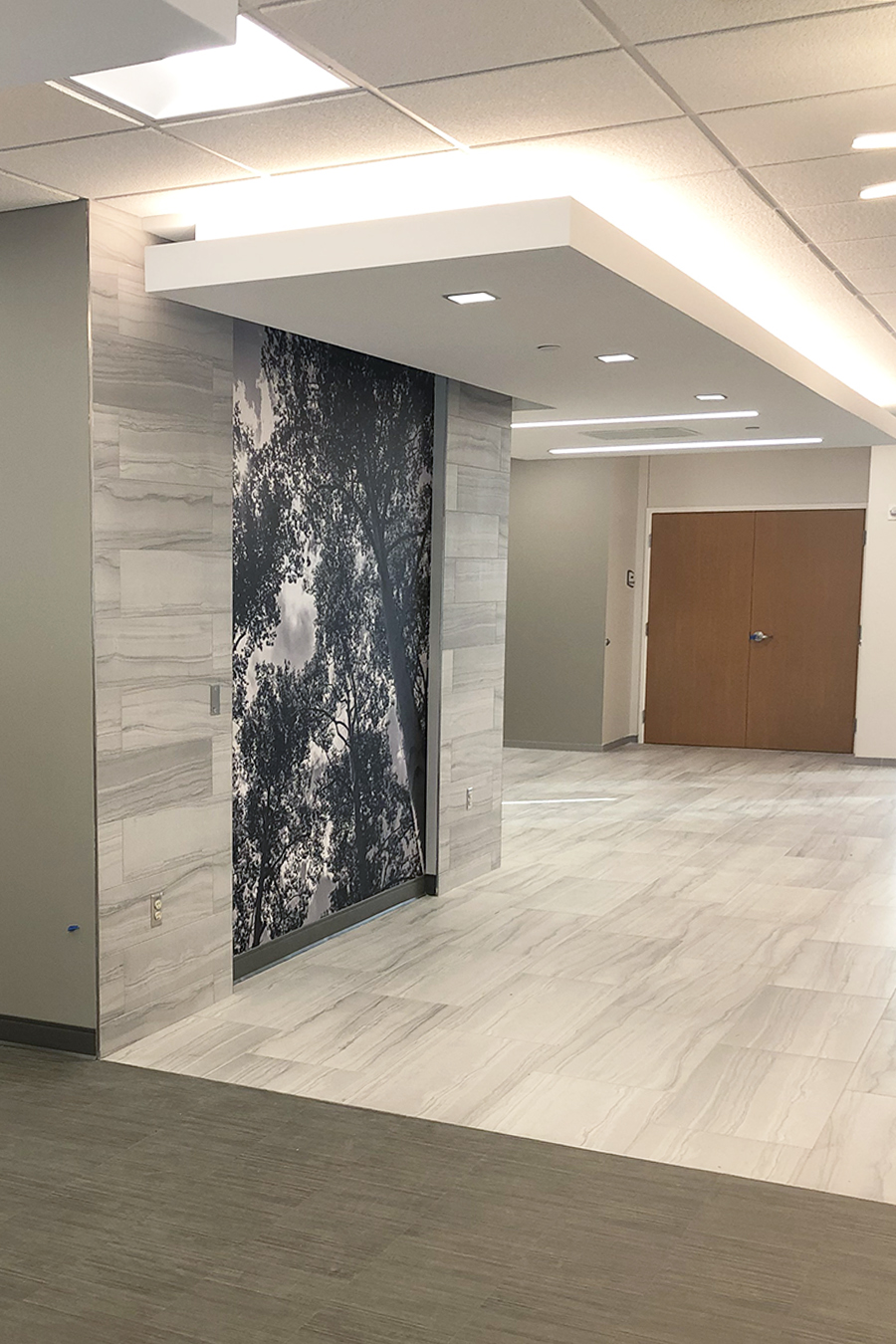 Faith Regional Health Norfolk NE install installation koroseal Type II vinyl wallcovering black and white flower botanical