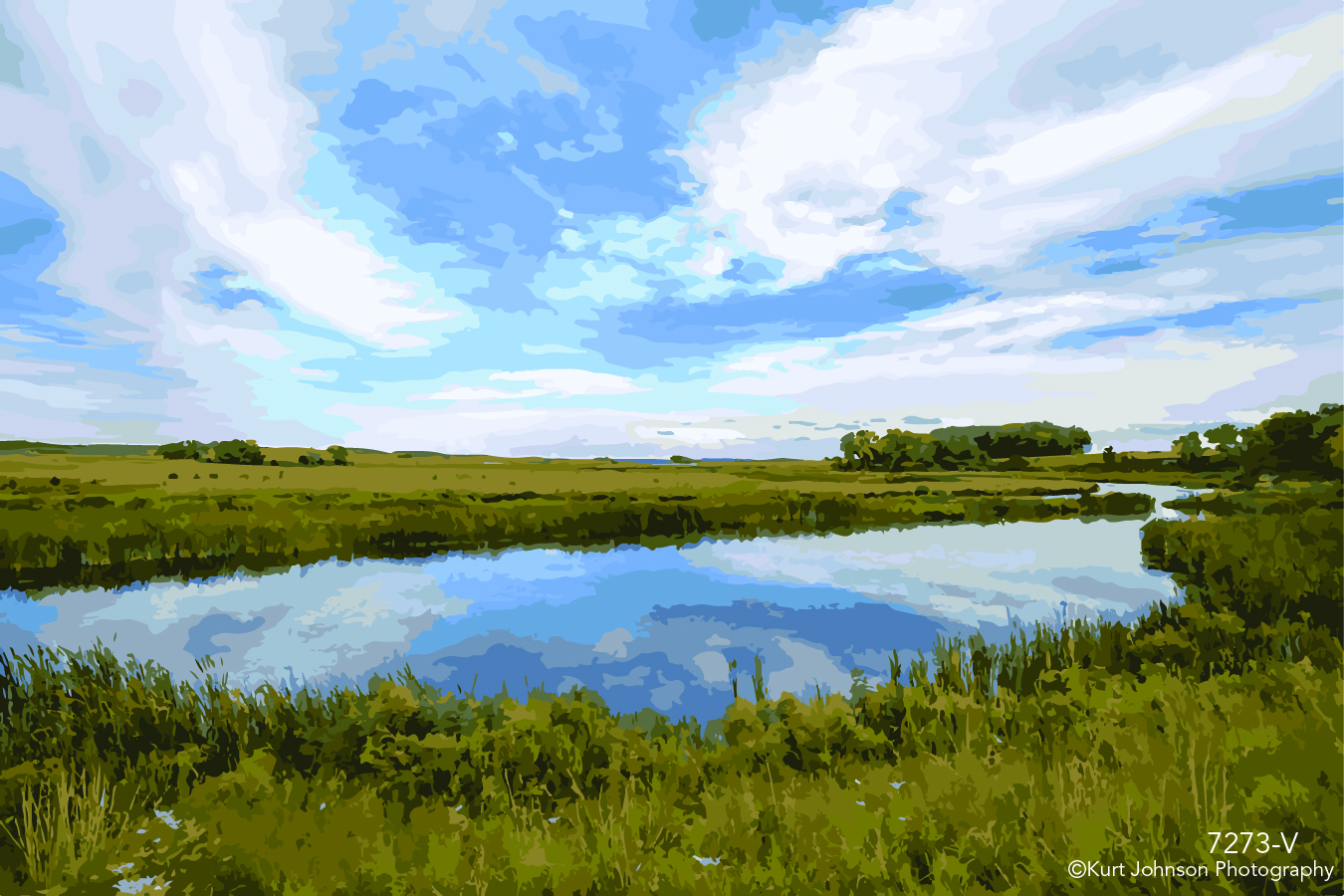 landscape waterscape still calm water blue sky clouds green grass vector midwest