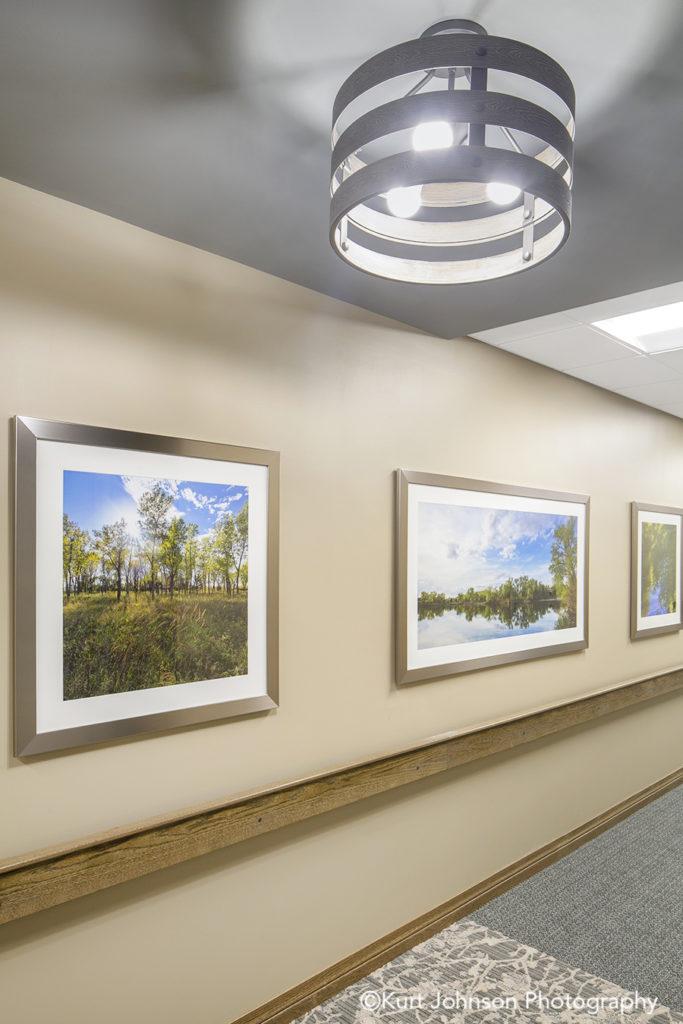 healthcare installation Brookstone Garden senior living framed art landscapes Kearney