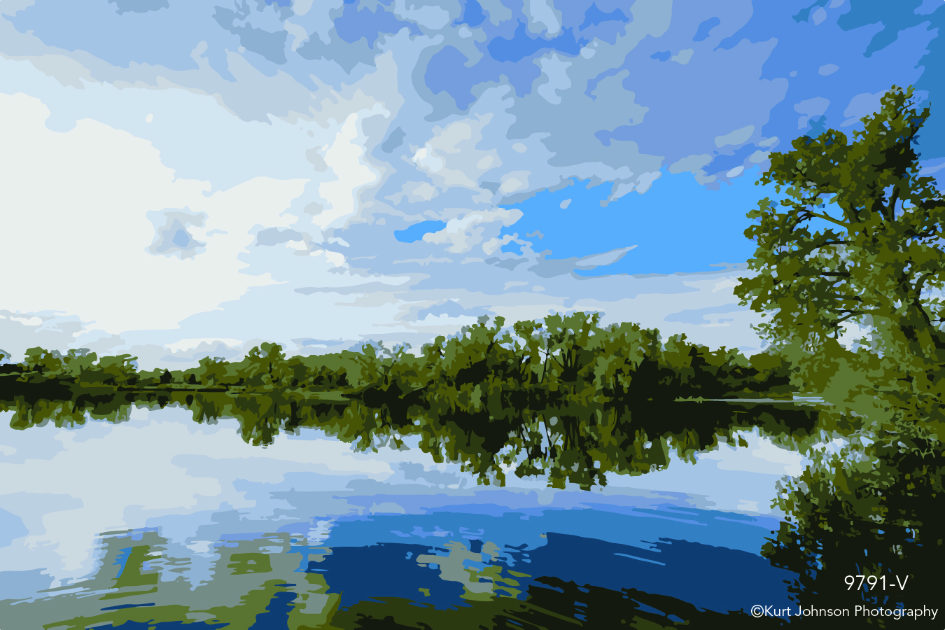 landscape waterscape calm water green trees blue sky clouds vector healing