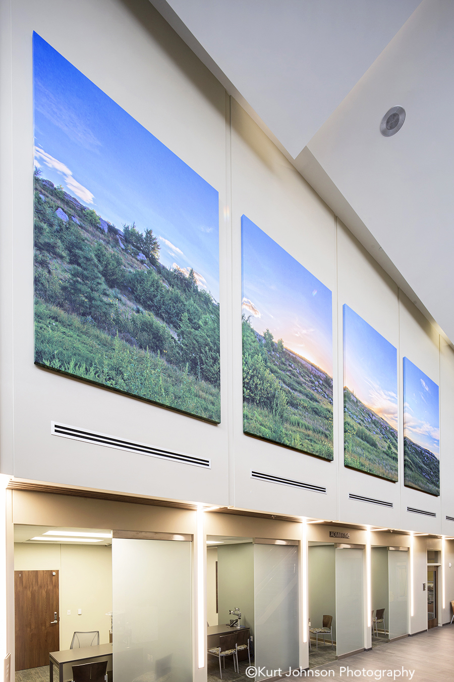 Install-gallery-wrapped-canvas-art-landscape-Sidney Regional Medical Center-Sidney NE-Leo A Daly lobby waiting