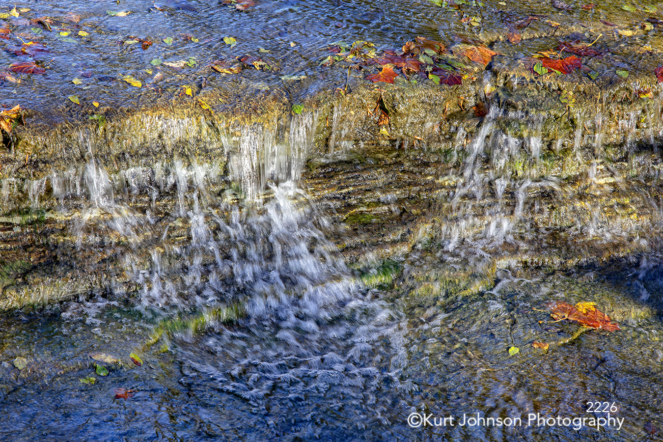 running water stream waterscape blue water fall autumn red orange yellow leaves