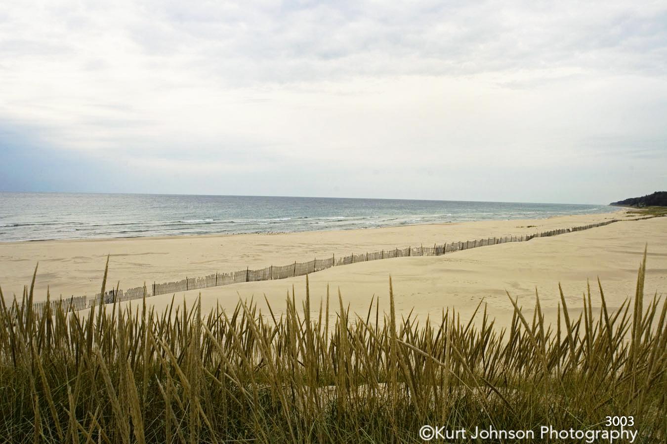sand beach ocean green grass shoreline blue water sky clouds waterscape