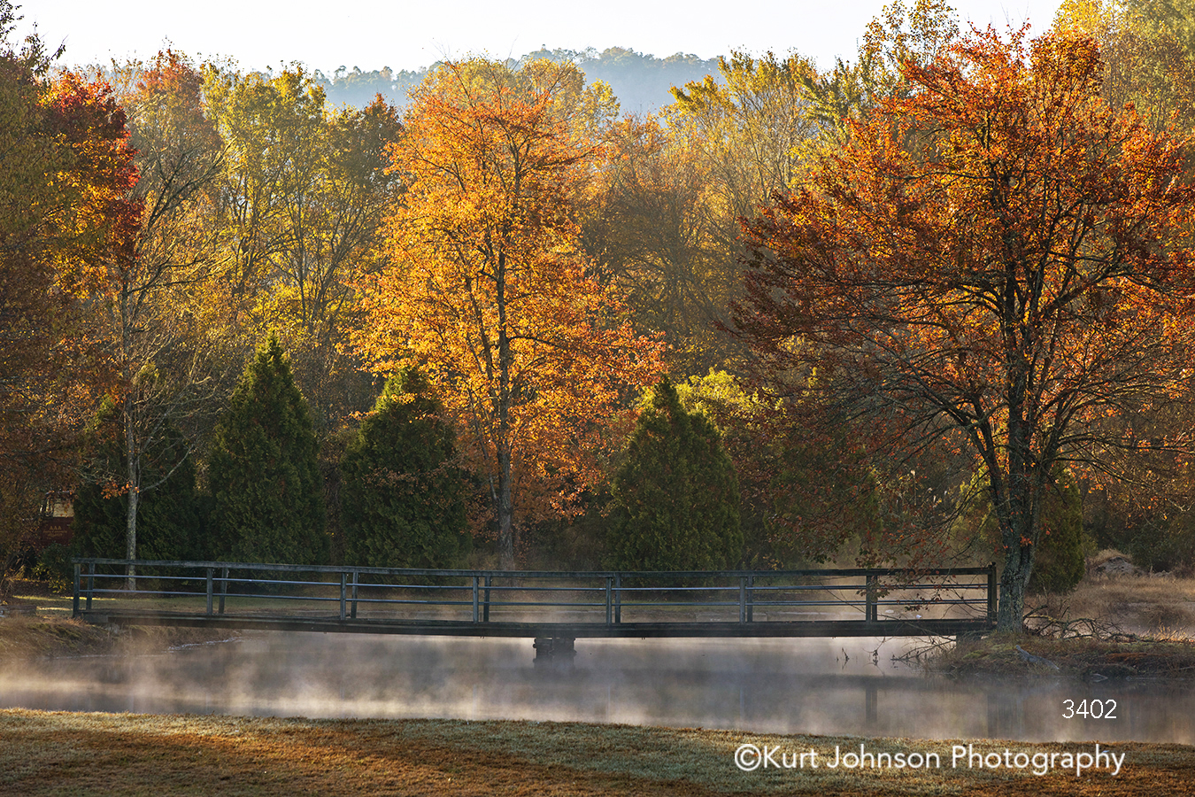 orange red autumn fall tree trees fog water river stream lake mist bridge morning waterscape