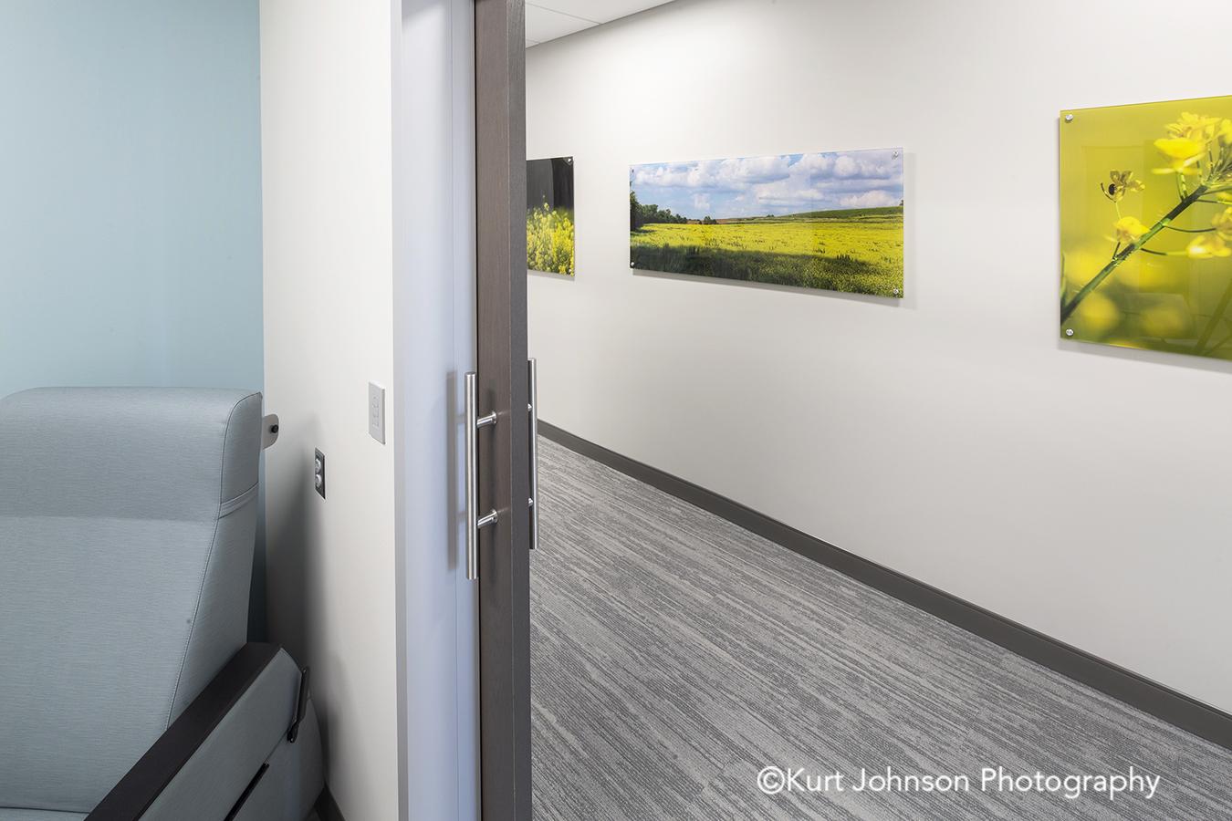 acrylic panel install healthcare installation CHI St Saint Francis Grand Island Nebraska clinic cancer treatment hallway corridor landscape botanical