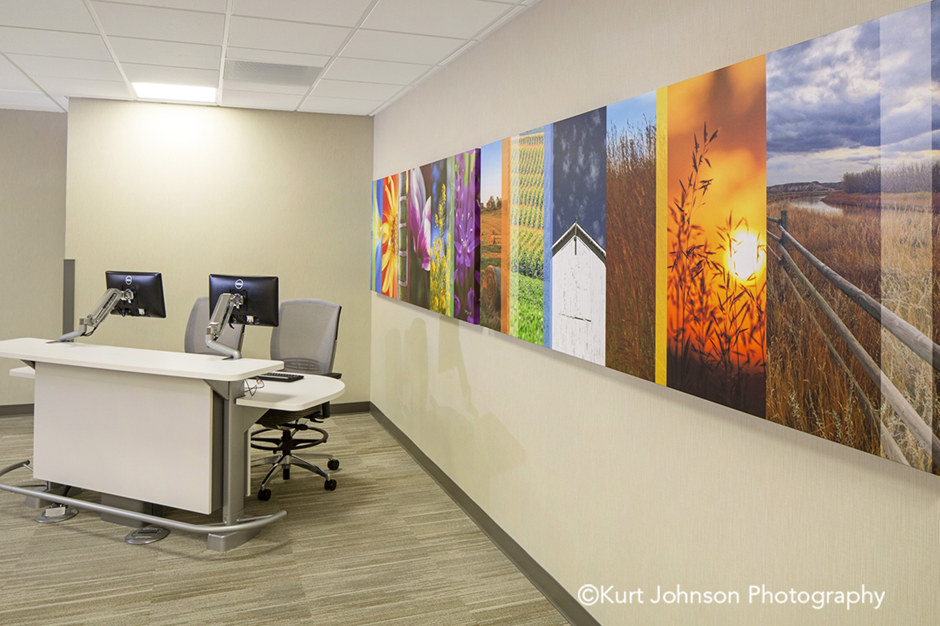 Lexington Regional Install gallery wrap wrapped canvas color slices flower grasses landscape botanical design healthcare installation reception desk lobby waiting