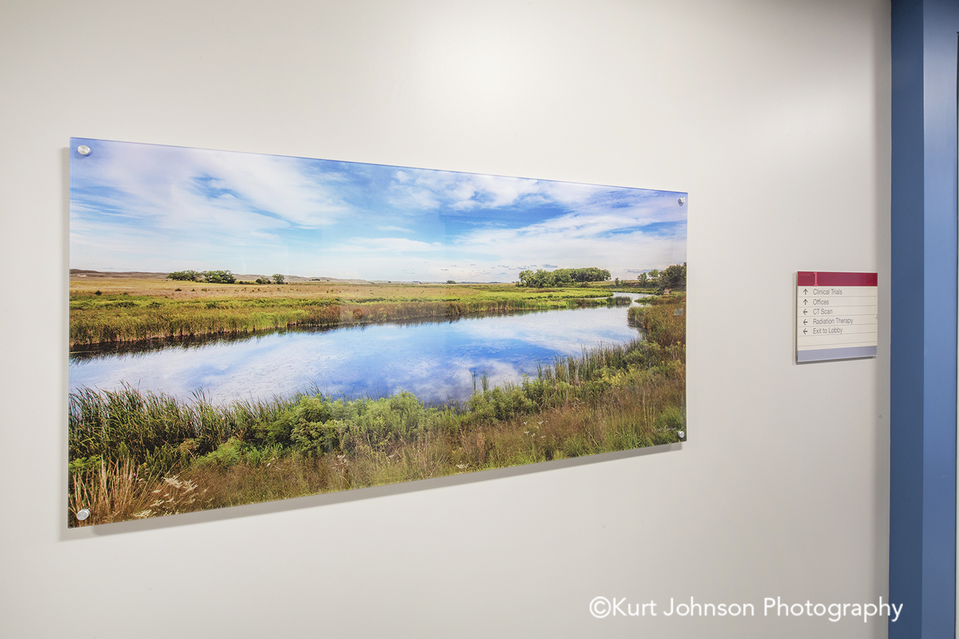 acrylic panel install healthcare installation CHI St Saint Francis Grand Island Nebraska clinic cancer treatment hallway corridor midwest landscape botanical