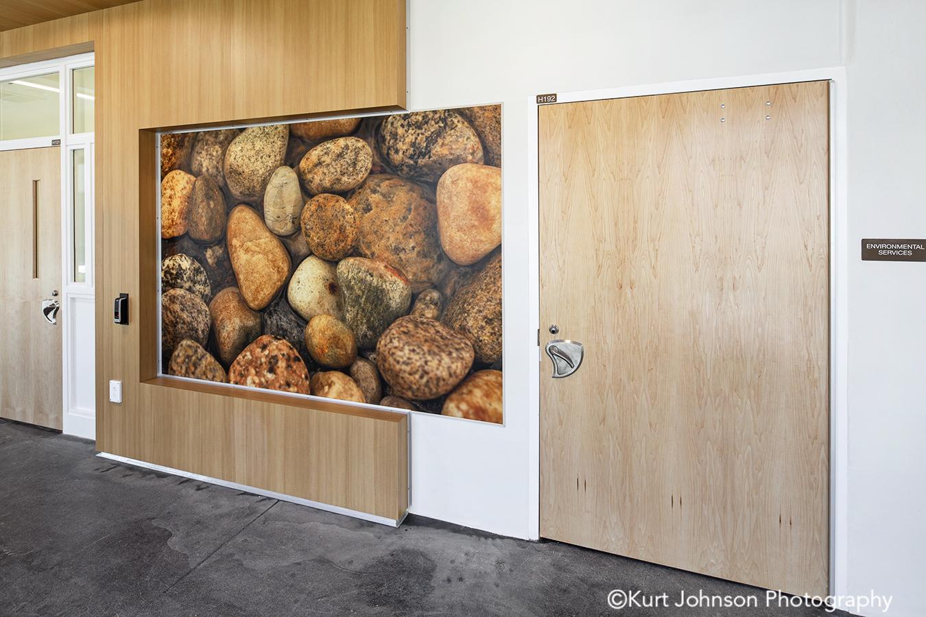 fulton state hospital missouri mo behavioral health Koroseal fusion wall protection stones rocks nature corridor hallway wayfinding art install installation