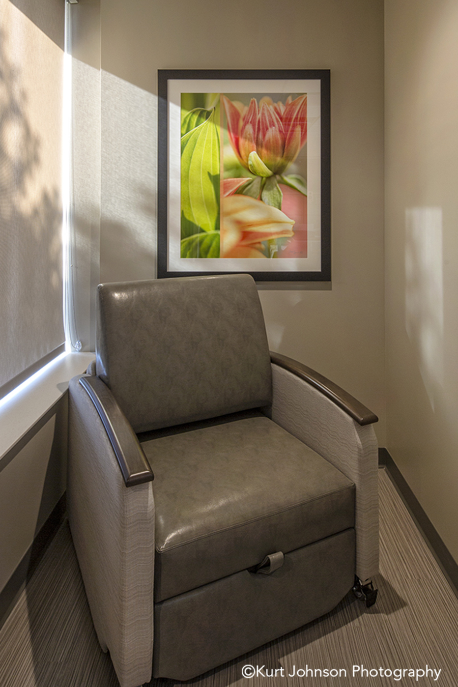 Lexington Regional Install framed botanical orange flower art healthcare design installation