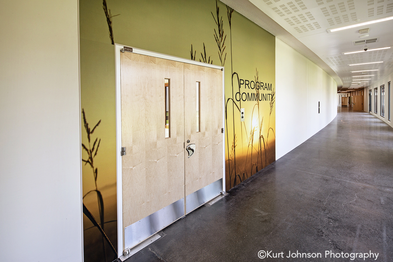 fulton state hospital missouri mo behavioral heath Koroseal type II vinyl wallcovering grass landscape corridor hallway door doorway entrance wayfinding art install installation