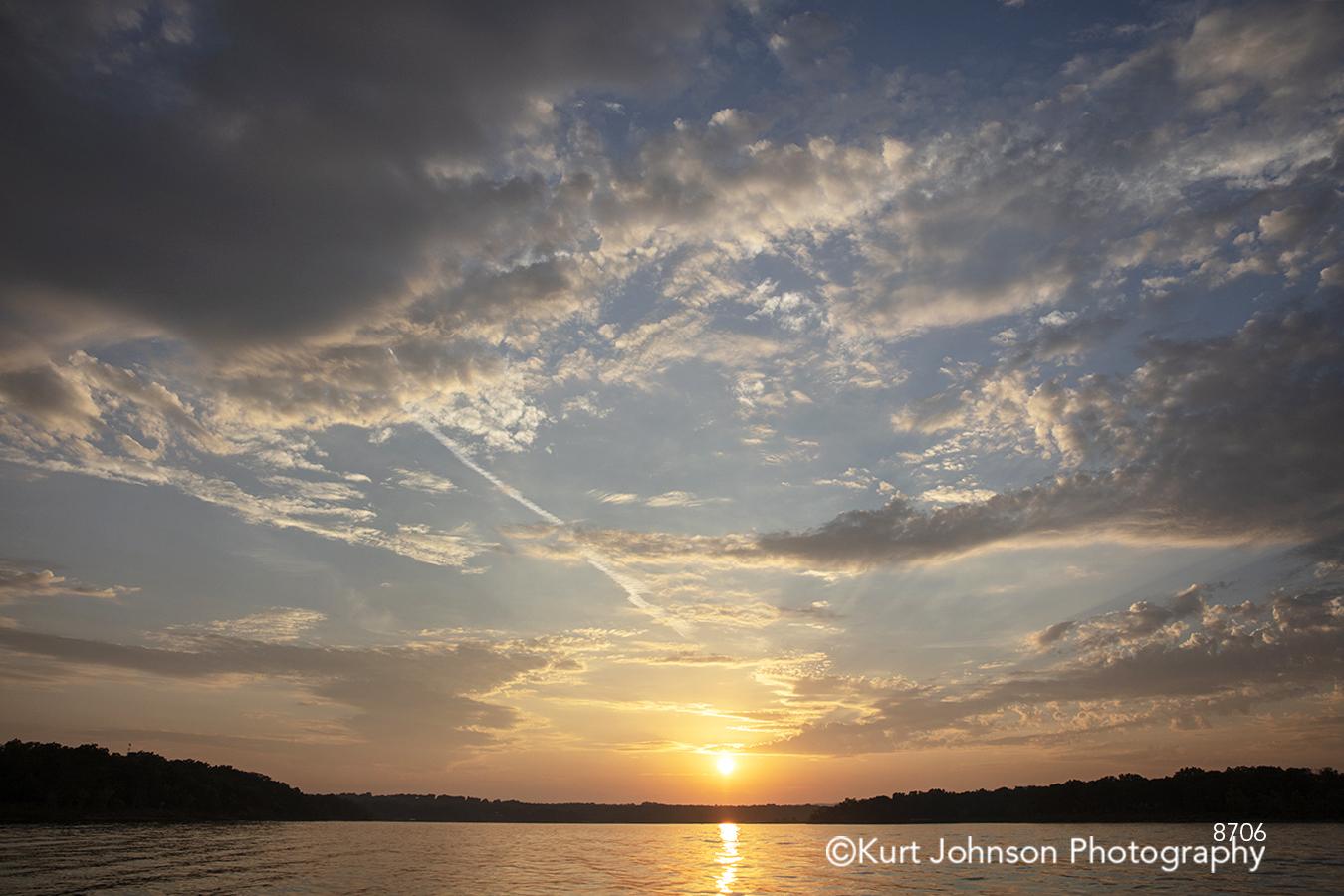 waterscape sunset orange sun sky clouds landscape