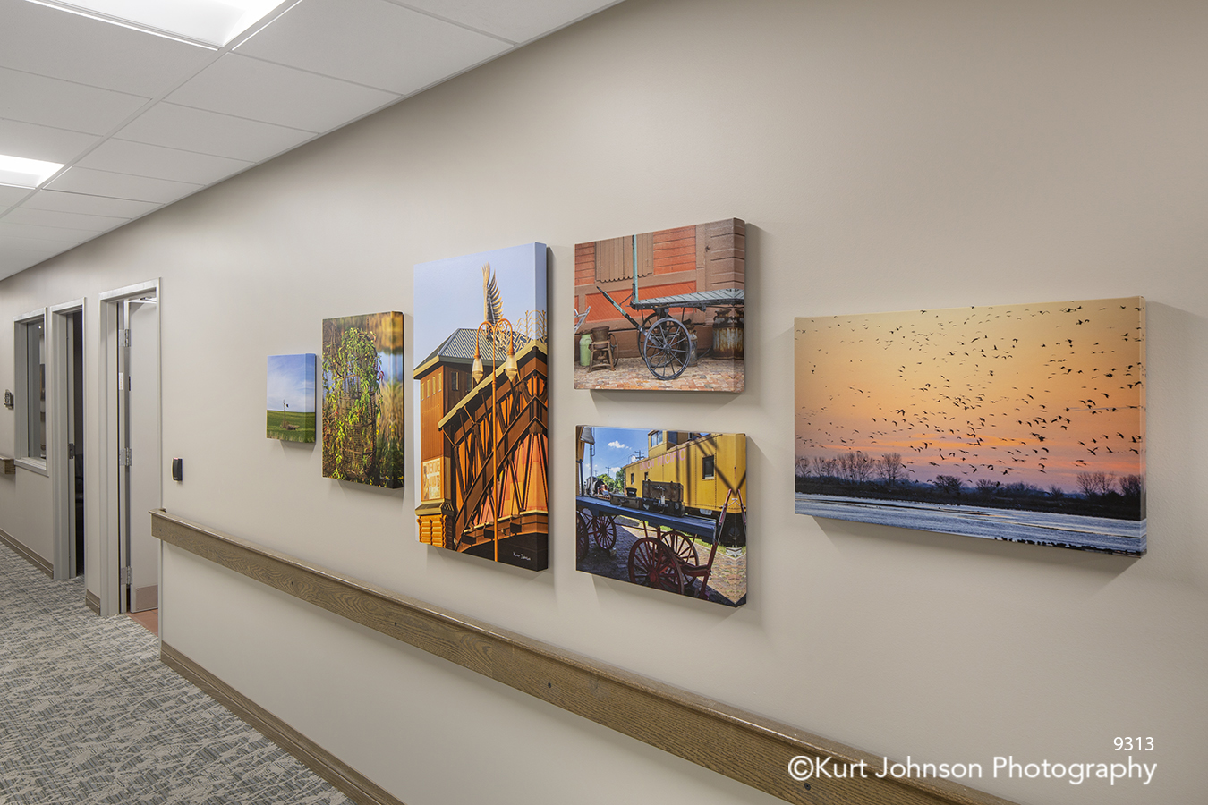 Brookstone Gardens Vetter Senior Living Care Assisted custom indigenous local landscape gallery wrap wrapped canvas wall art installation hallway corridor