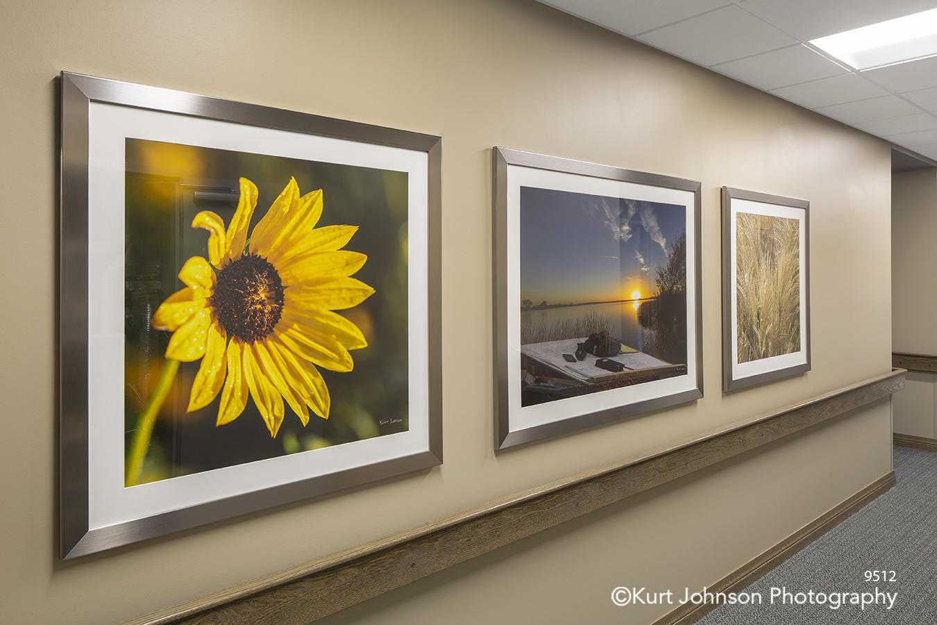Brookstone Gardens Vetter Senior Living Care Assisted framed flower botanical landscape art matte matted frame installation hallway corridor