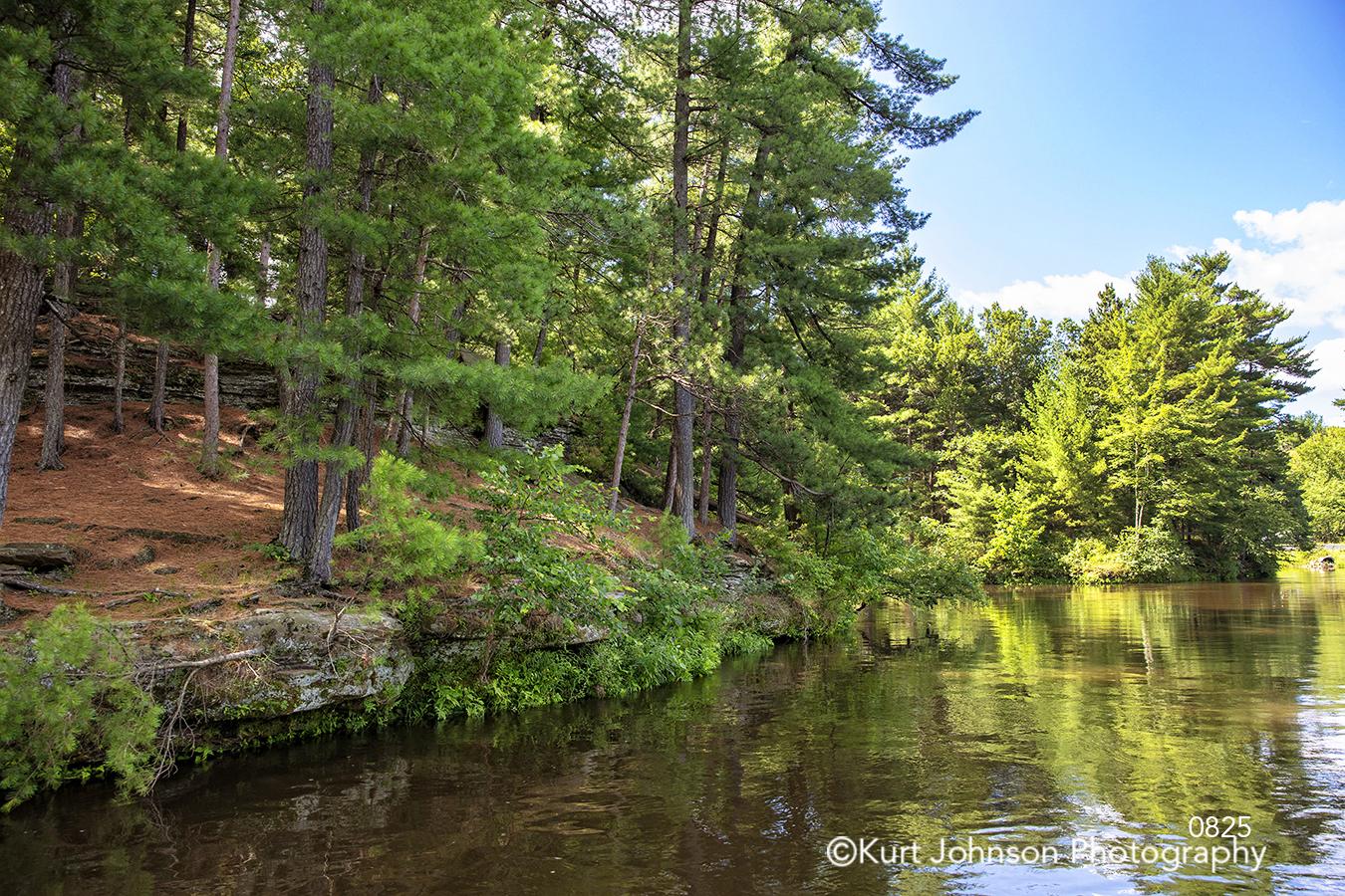green trees shore shoreline river lake stream water waterscape blue sky healing landscape