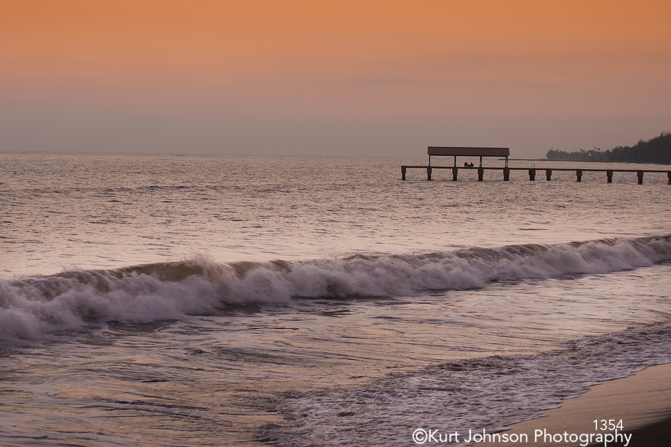 pink orange ocean dock sunset sunrise water waves waterscape shore shoreline