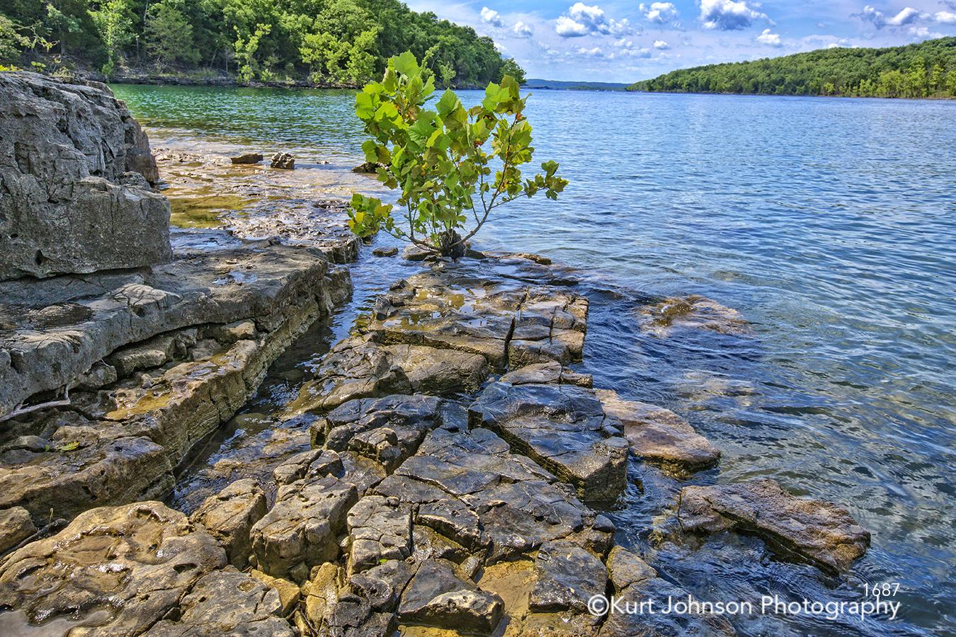 blue water shore shoreline green trees rocks stone river lake stream waterscape