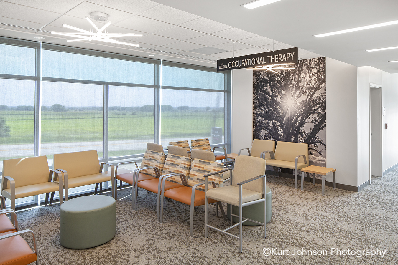 Faith Regional Health Norfolk NE install installation koroseal Type II vinyl wallcovering black and white tree landscape botanical lobby waiting area seating chairs