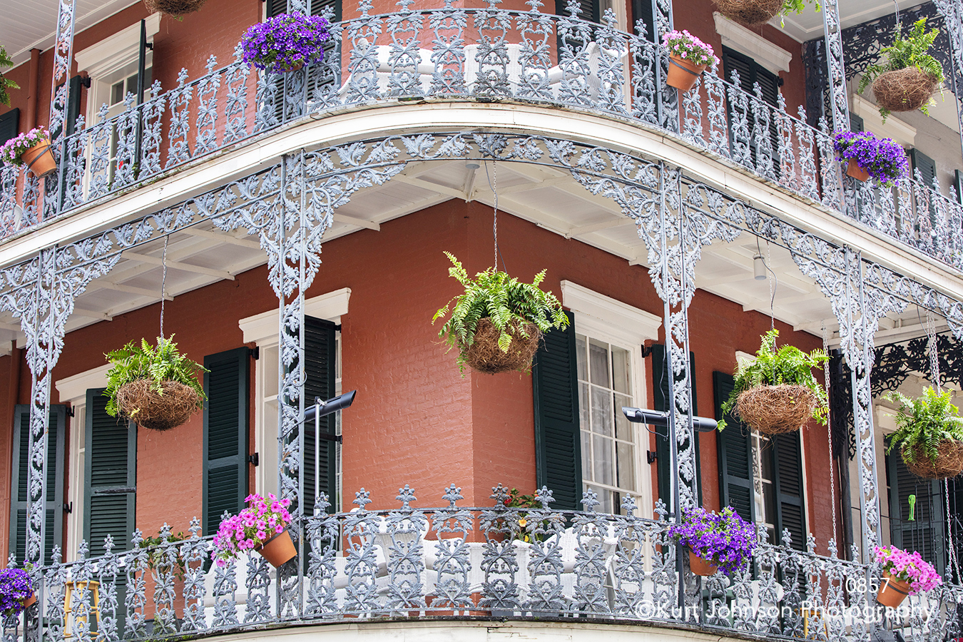 city downtown red house balcony windows view new orleans colorful flowers south southeast