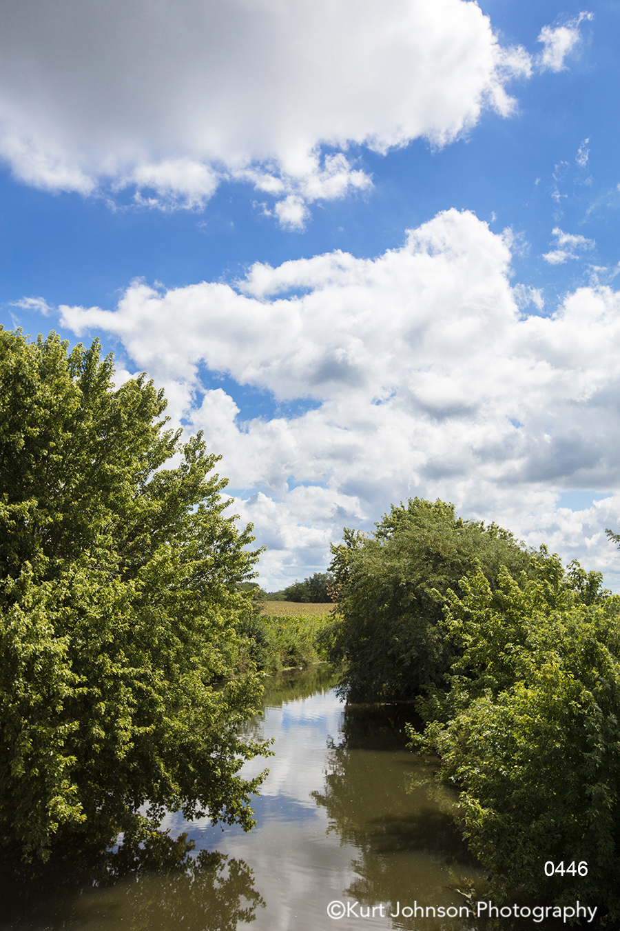 calm still water stream river green trees blue sky clouds waterscape landscape
