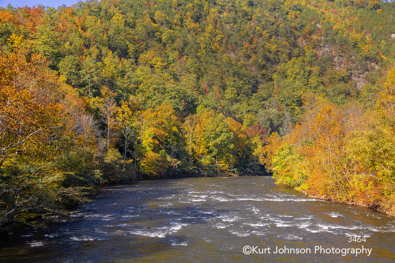 green yellow orange trees autumn fall water waves waterscape stream river landscape