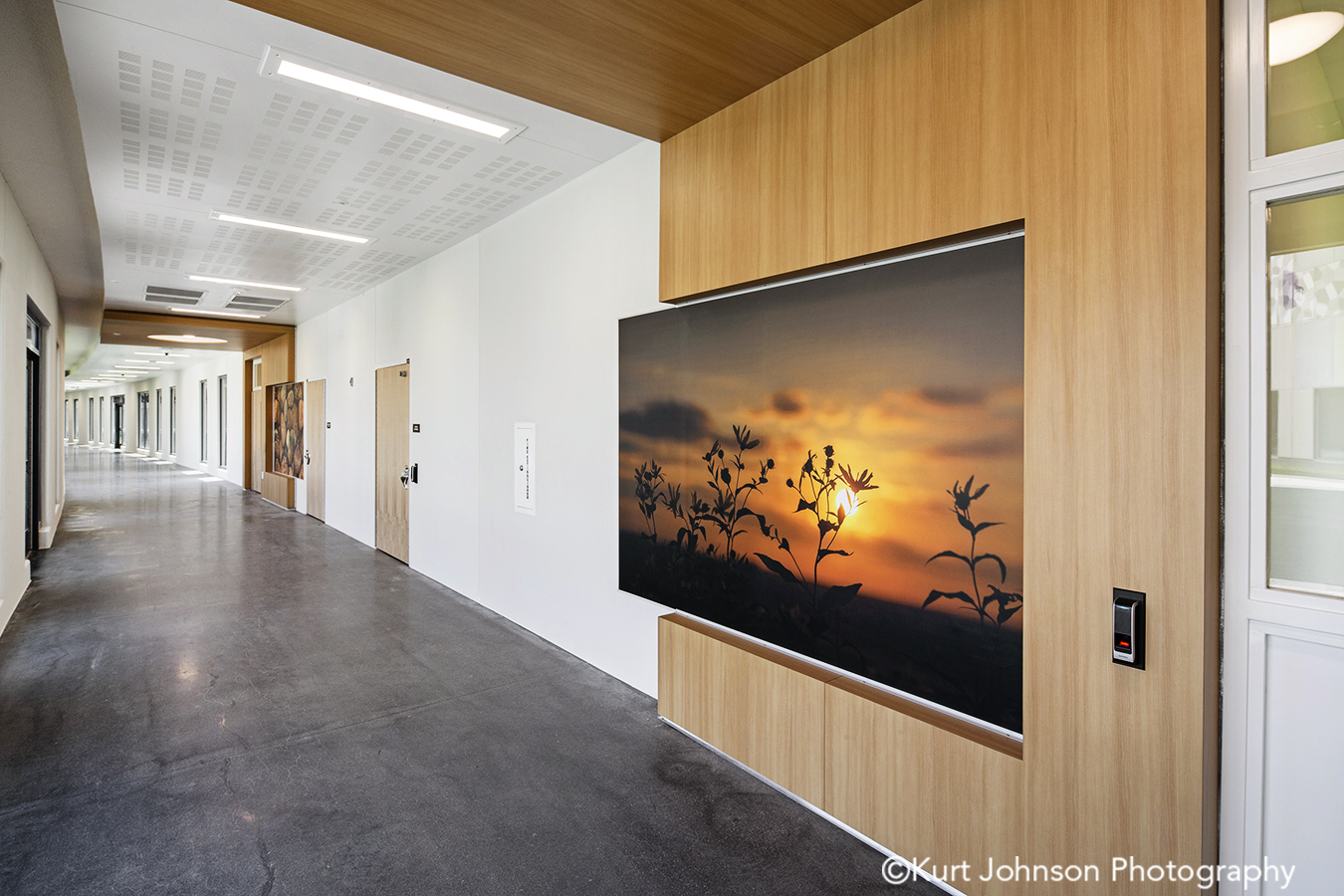 fulton state hospital missouri mo behavioral health Koroseal fusion wall protection orange yellow clouds landscape corridor hallway wayfinding art install installation