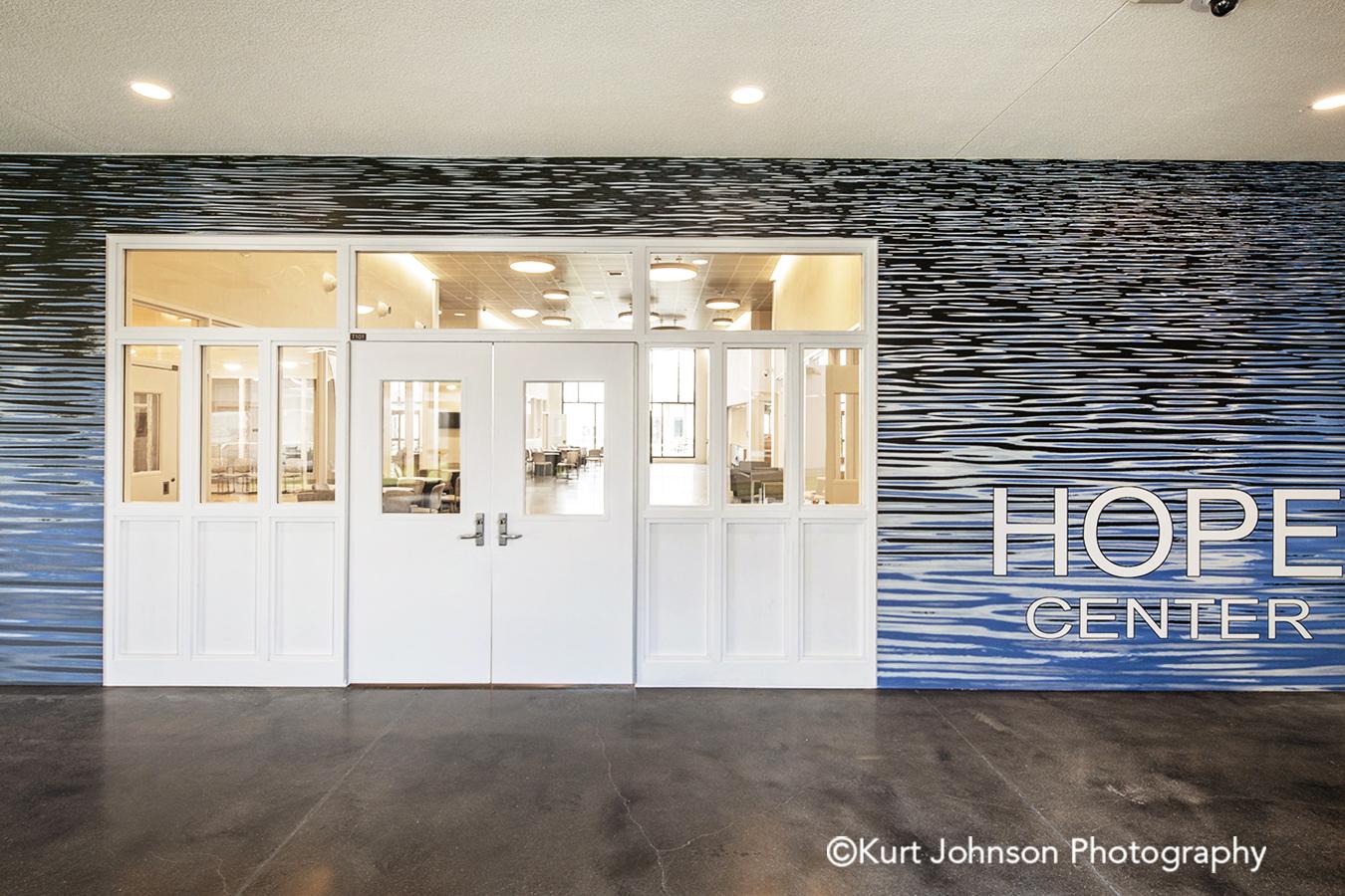 fulton state hospital missouri mo behavioral health Koroseal type II vinyl wallcovering wayfinding art install installation blue water waterscape