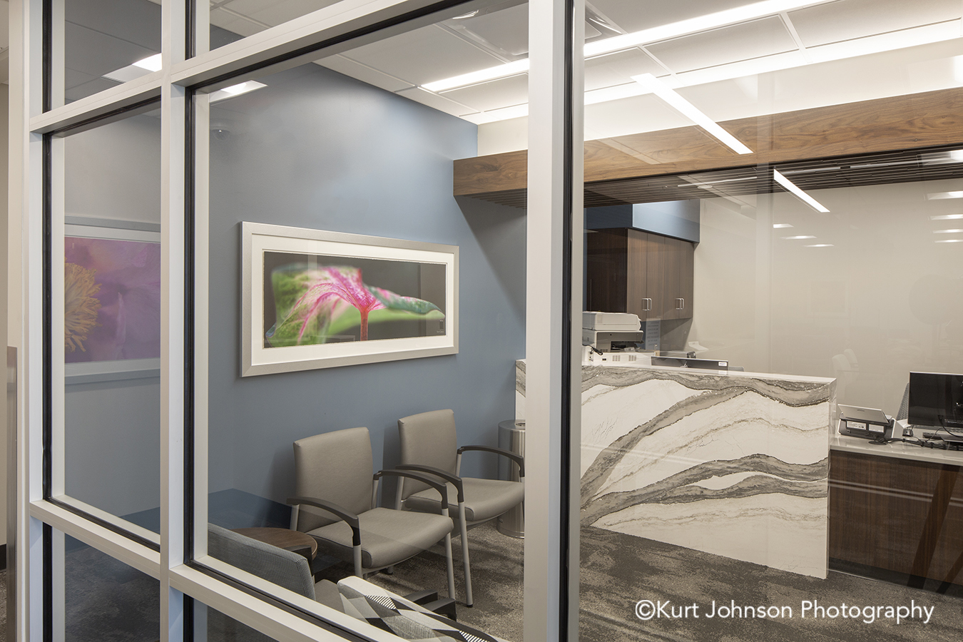 silver framed art botanical white matte frame hospital healthcare install Jennie Ed Methodist