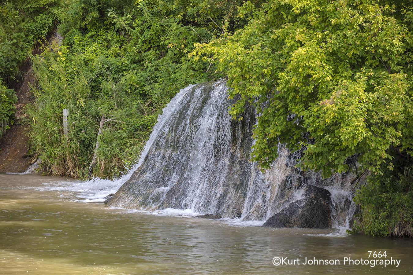 water waterfall green trees river forest waterscape landscape rocks