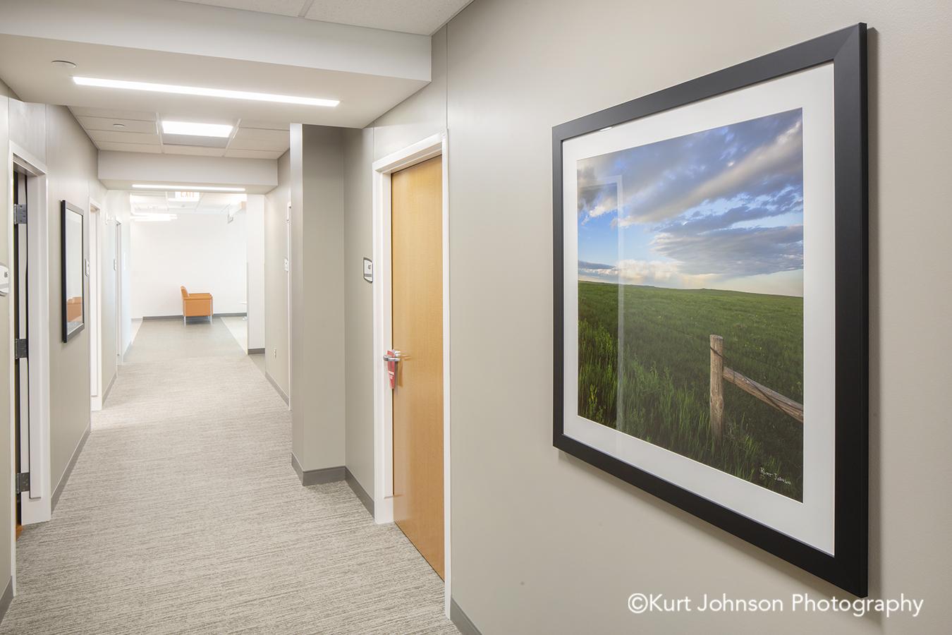black frame white matte landscape framed nature art healthcare installation hallway corridor Norfolk Regional Health Install