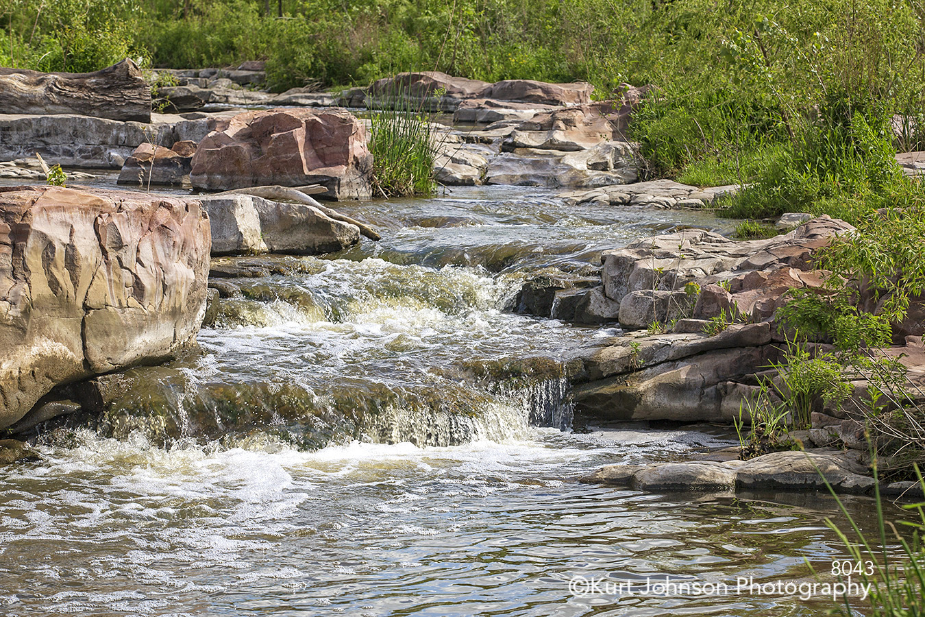water waves waterfall rocks stone river stream green grass grasses waterscape landscape cliff