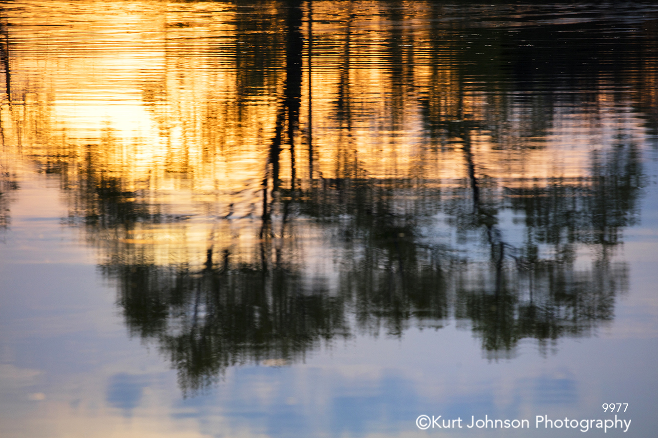 water waterscape reflection lines pattern texture sunset trees shadows orange blue