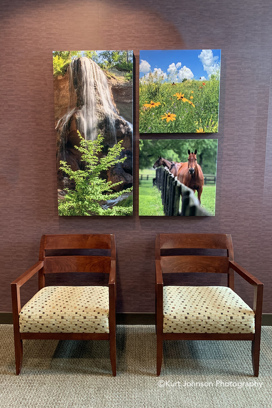 gallery wrapped canvas midwest nature wall art seating waiting area lobby install healthcare installation
