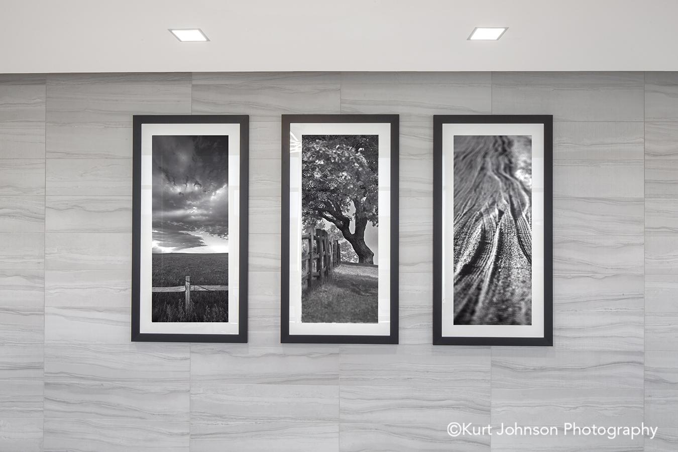 black frame white matte framed art install landscape tree fence road texture hallway corridor installation faith regional health norfolk ne
