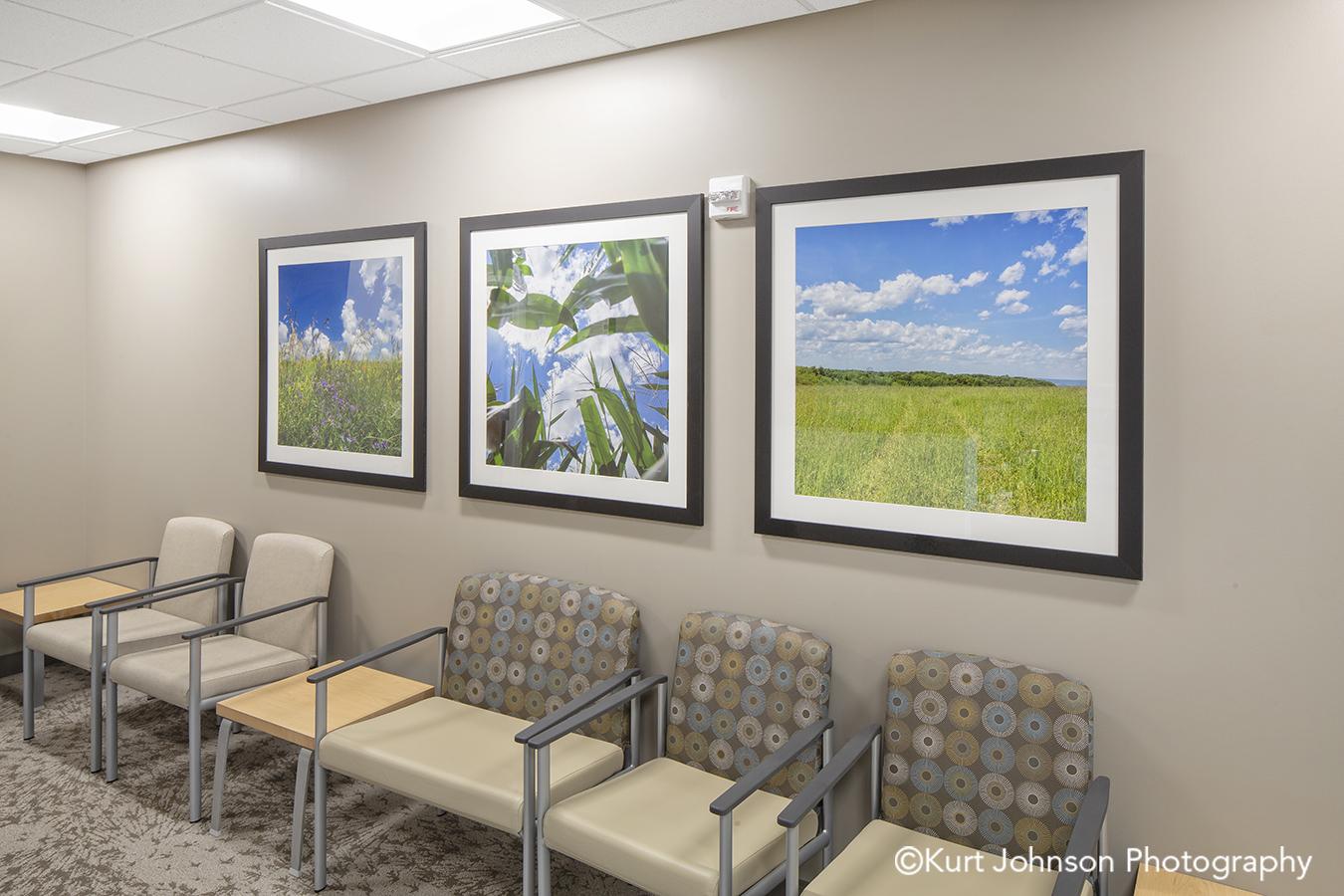 wood framed landscape nature art install waiting seating area faith regional health services norfolk nebraska installation