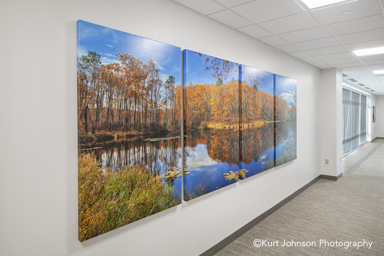 gallery wrapped canvas art install triptych landscape autumn fall Faith Regional Health Services Norfolk Nebraska installation