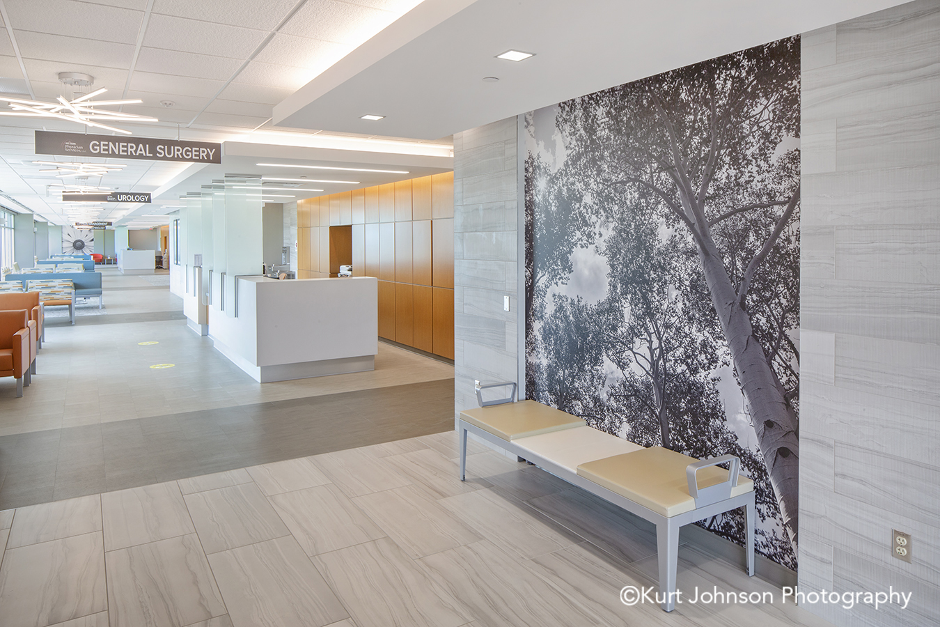 Faith Regional Health Norfolk NE install installation koroseal Type II vinyl wallcovering black and white landscape tree lobby waiting area seating chairs