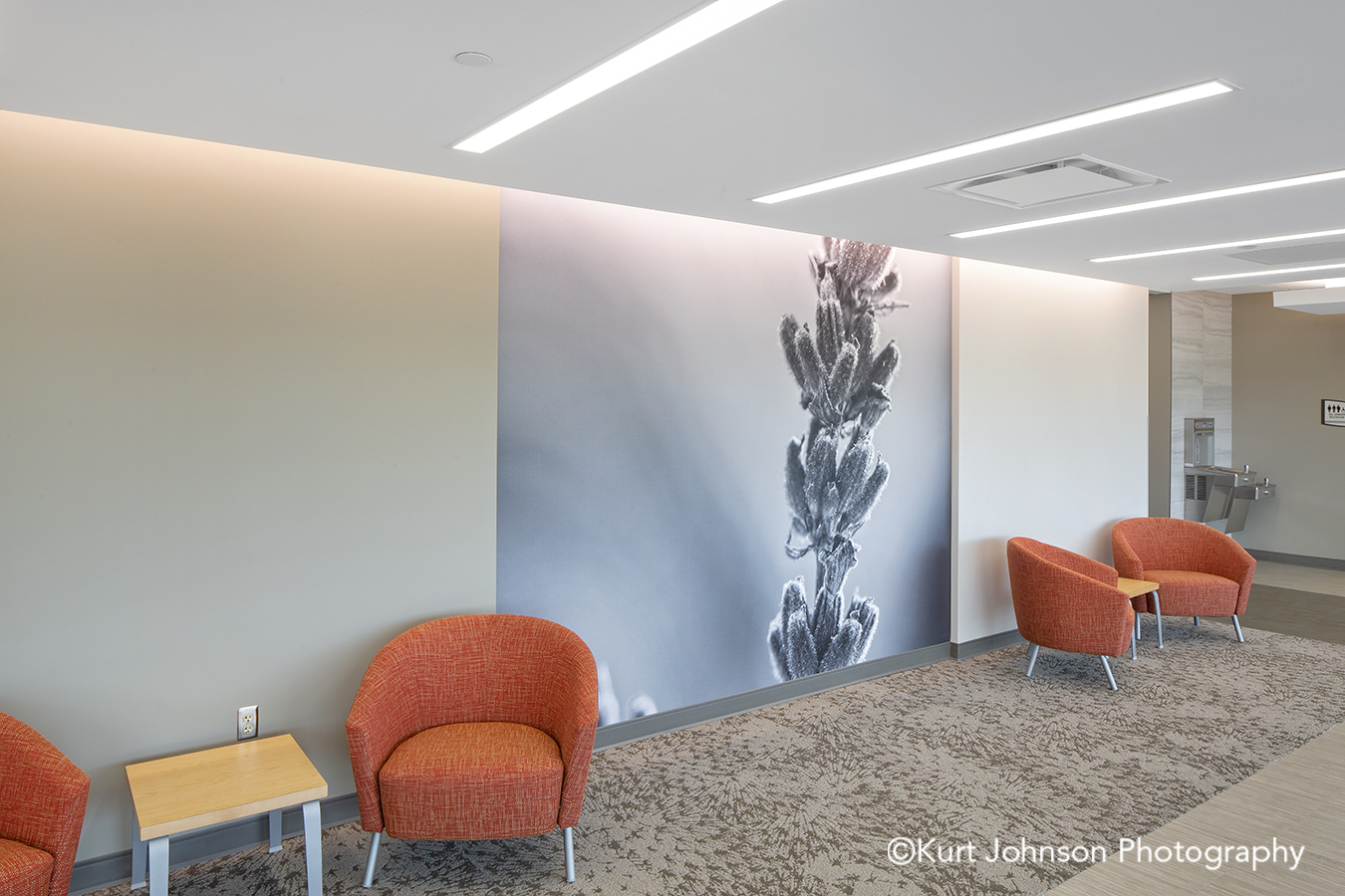 Faith Regional Health Norfolk NE install installation koroseal Type II vinyl wallcovering black and white texture flower lobby waiting area seating chairs
