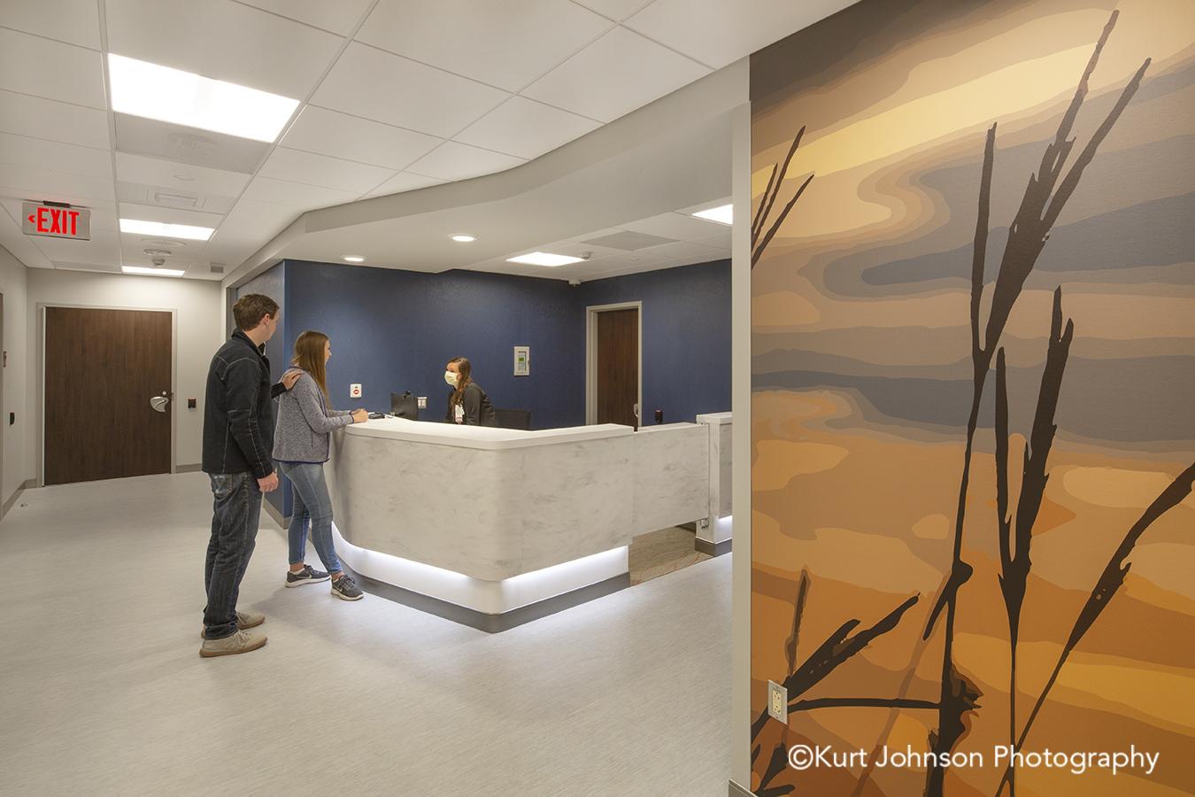 Nebraska Medicine Koroseal Fusion Custom Photographic Slices Custom Vector Graphics Grass Grasses Landscape Psychiatric Emergency Services Hallway Corridor