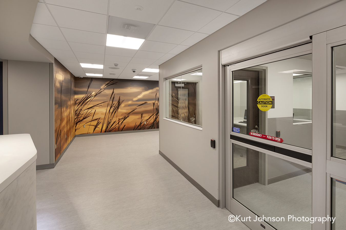 Nebraska Medicine Koroseal Fusion Custom Photographic Slices Custom Vector Graphics Grass Grasses Landscape Psychiatric Emergency Services Hallway Corridor
