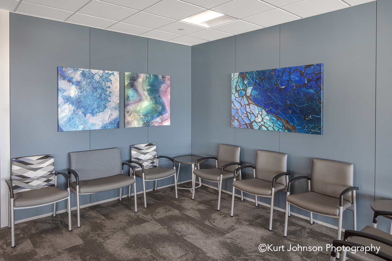methodist physicians clinic elkhorn best care gallery wrapped wrap canvas wall art blue texture textures agate geode agates stained glass pattern healthcare installation lobby waiting chairs
