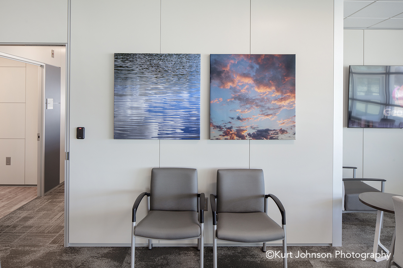 methodist physicians clinic elkhorn best care gallery wrapped wrap canvas wall art blue water clouds sky healthcare installation lobby waiting chairs