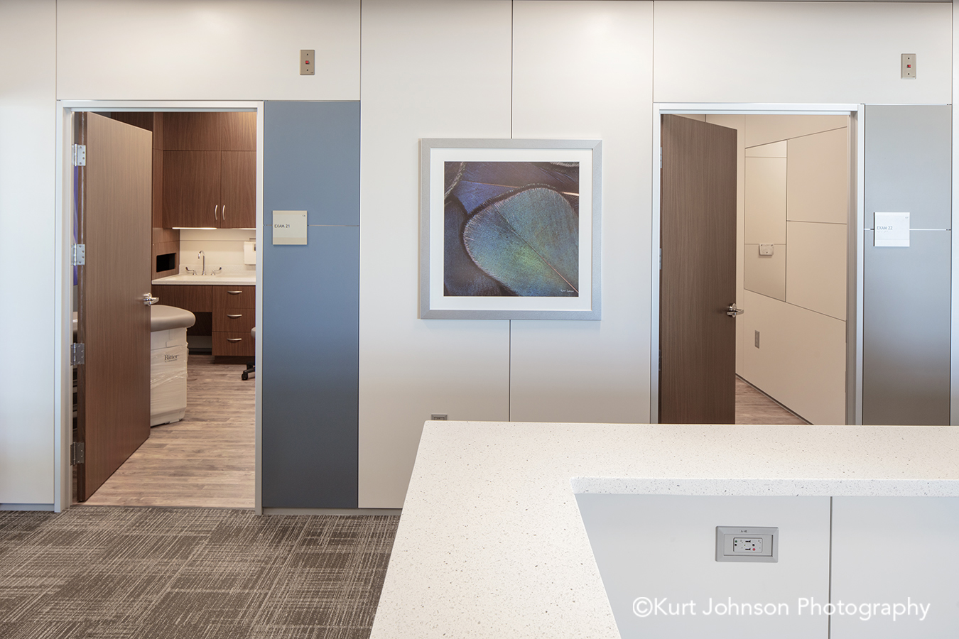 silver frame framed art install installation wall feather texture hall hallway corridor methodist physicians clinic elkhorn nebraska best care positive distraction patient outcomes
